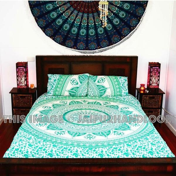 Sea Green & White Ombre Medallion Circle Duvet Cover Set with 2 Pillow Covers