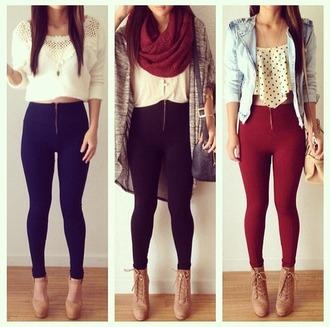 leggings blue skinny jeans skinny pants skinny jeans high waisted jeans high waisted pants zipped pants zip pants bergundy