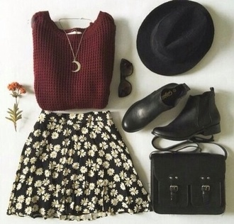 back to school ankle boots burgundy daisy shoes chelsea boots bag sweater red boots hat brown bag fall outfits wonter cozy warm girly black with white flowers
