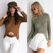 sweater,long sleeves,asymmetrical jumper,cropped sweater,khaki,brown,green,olive green,army green,side slit,side slit sweater,jumper,slit jumper,casual,casual jumper,women casual,slim,bodycon,sexy,sexy sweater,sexy pullover,asymmetrical pullover,hollow out sweater,ribbed,ribbon,ribbed sweater,jeans top,sexy jeans pullover,winter jumper,girly,hot,cute,cute top,cool,preppy,pretty,musthave,fashion top,fahion toast,streetwear,streetstyle,urban,holiday outfit,moraki,sweater weather