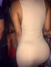 dress,beige,cream,curvy,tight,black girls killin it,booty,butt