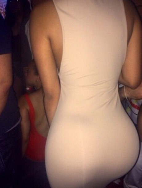 dress beige cream curvy tight black girls killin it booty butt butt