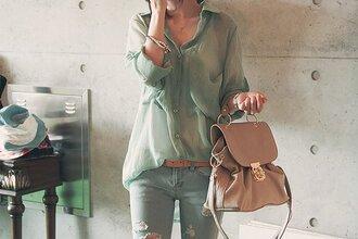 jeans blouse skirt bag green shirt loose