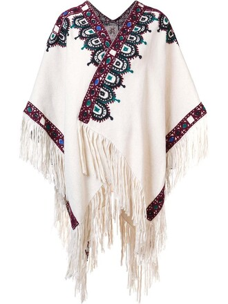 poncho women white top