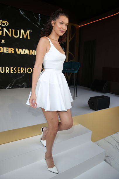 shoes skirt white all white everything bella hadid model cannes top mini skirt high waisted