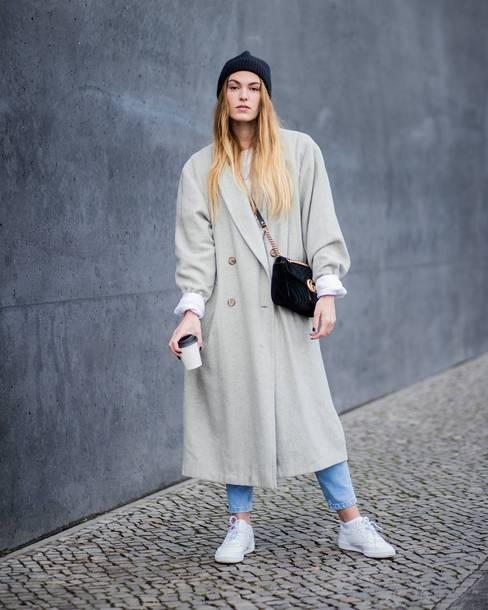coat tumblr long coat grey long coat oversized oversized coat grey coat black beanie beanie bag sneakers white sneakers low top sneakers