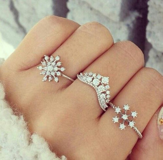 jewels snowflake ring snowflake ring holiday season frozen pll ice ball jewelry silver silver ring