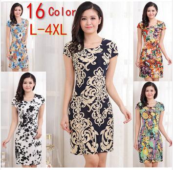 L-4XL 2014 new fashion women summer dress slim tunic milk silk print floral dresses casual plus size sexy dress vestidos S0623 | Amazing Shoes UK