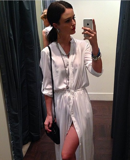 dress silk shirt cream waisted waist satin drawstring split leg dress