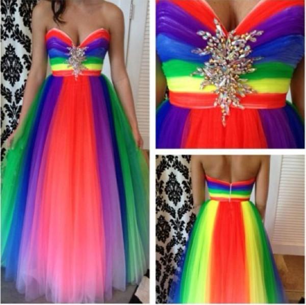 rainbow dress dress tulle skirt evening dress cocktail dress prom dress party dress party colorful