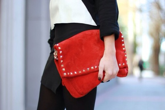 bag red bag leather bag