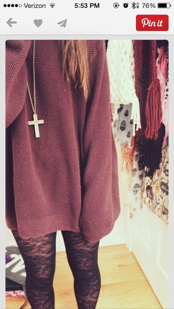 sweater tights red sweater dress top shirt burgundy sweater loose shirt jewels large cross cross necklace leggings