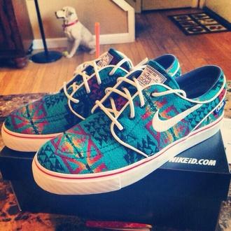 shoes earphones nike nike sb aztec colorful nikes rainbow sneakers colorful tribal pattern janoski's