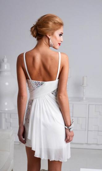 Sheath spaghetti straps chiffon short homecoming dresses with rhinestone kq1404p800749