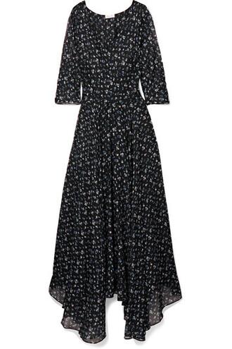 dress maxi dress maxi floral cotton print black silk