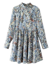 dress,floral,sexy,greyish,brenda-shop,floral dress,cute,cute dress,summer,summer dress,summer outfits,long sleeves,long sleeve dress,cute outfits,spring,spring outfits,spring dress,spring break,special occasion dress,school girl,teenagers,mini dress,pleated,blue,light blue,flare