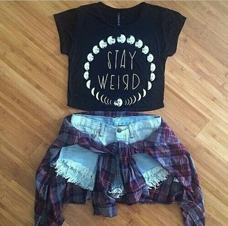 t-shirt moon black stay weird blue moon phases crop summer outfits grunge plaid outfit