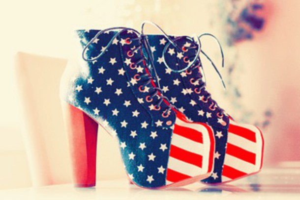 shoes high heels american flag pumps