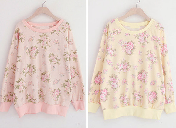 sweater oversized sweater pink cute sweaters rose roses yellow