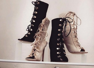 shoes heels boots ankle boots pumps black beige black shoes beige shoes tumblr instagram gold laces high heels boots women girl cute beautiful pretty sexy party shoes suede suede shoes sexy shoes