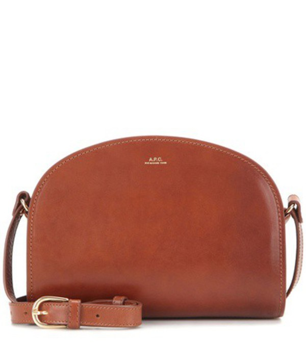 A.P.C. Demi-Lune leather shoulder bag in brown