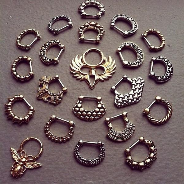 jewels nose ring piercing gold septum piercing