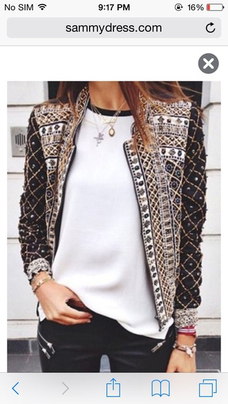 jacket girly girl girly wishlist cute coat black white studs studded jacket style studded design fashion trendy 2015 trends dope down jacket dope wishlist jewels jewelry gold gold sequins gold chain arm candy necklace silver necklace chain chain necklaces sequins sequin jacket pants zip zipped pants white t-shirt white top embroidered jacket embroidered beautiful beauty fashion shopping sexy pretty outfit outfit idea tumblr outfit fall outfits cute  outfits cute top