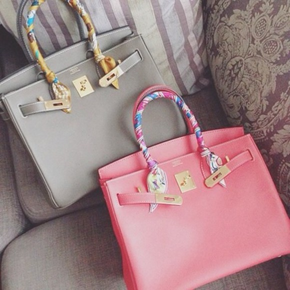 bag handbag hermes pink grey hermes bag