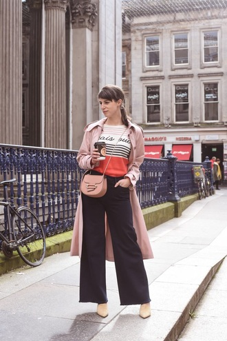 jeans pants coat pink coat top bag pink bag black jeans wide-leg pants