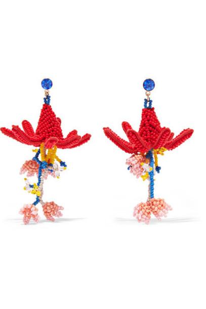 ETRO beaded earrings red jewels