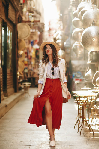 skirt tumblr red skirt midi skirt button up skirt button up slit skirt shirt blazer white blazer shoes white shoes pointed flats flats hat sunglasses spring outfits striped shirt buttoned skirt