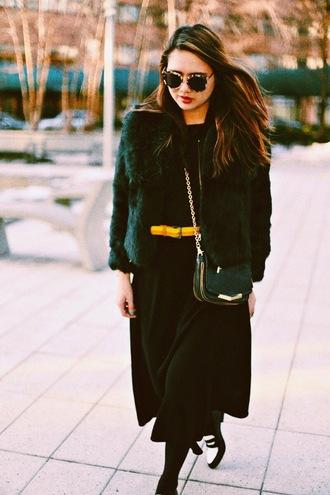 color me nana blogger skirt winter outfits faux fur jacket