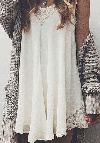 white dress lace cardigan dress cute dress short dress plain dress large off-white cute summer shirt