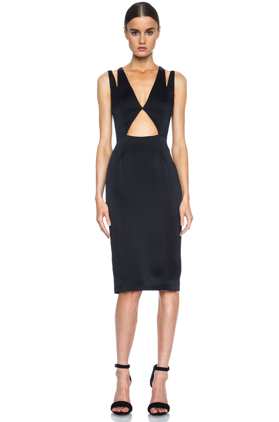 Cushnie et Ochs|Deep V Cut Out Acetate-Blend Dress in Black