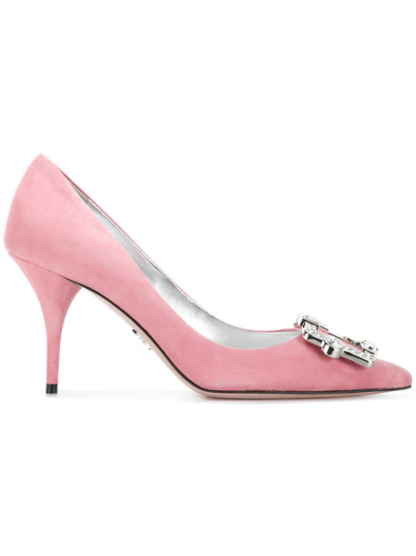 Prada women pumps leather suede purple pink shoes
