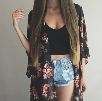 denim shorts ripped shorts floral kimono kimono summer summer outfits black crop top high waisted shorts studs long hair straight hair boho festival