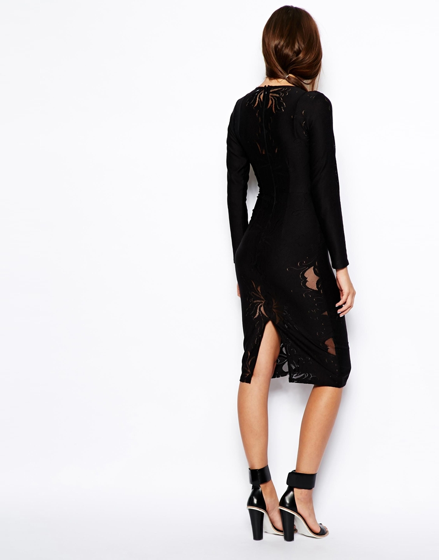 ASOS Premium Lace Bodysuit Dress at asos.com
