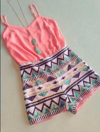 jumpsuit cute jumpsuit cute summer coral aztec aztec jumpsuit summer jumpsuit coral jumpsuit coral romper aztec romper romper