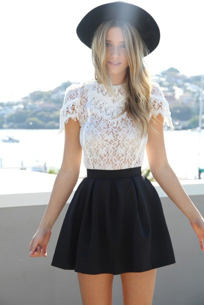 skirt black skirt skater skirt blouse top short cute summer swag white lace top shirt