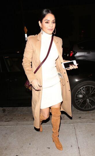 dress camel camel coat boots vanessa hudgens fall outfits turtleneck dress turtleneck coat