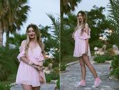 ♡anita kurkach♡,the anita kurkach diaries,blogger,romper,pink sneakers,pink dress,all pink everything,all pink wishlist,off the shoulder,mini dress,summer dress,converse