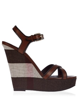 cross sandals wedge sandals leather brown shoes