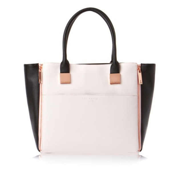 Bag: ted baker, handbag, rose gold, black, classy, designer bag ...