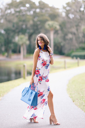 southern curls and pearls,blogger,jewels,shoes,floral dress,statement earrings,blue bag,maxi dress,slit dress,nude heels,michael kors