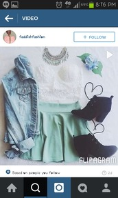skirt,pastel,pastel color,pastel skirt,mint,pastel mint,pastel mint green,cute,girly,girl,dress,cute outfits,heels,boots,cute boots,denim jacket,lace,crop tops,blouse,earphones,shoes,shirt