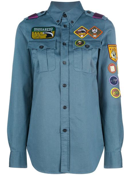 Dsquared2 shirt women spandex cotton blue top