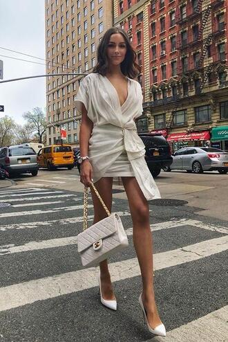 dress mini dress white white dress purse pumps olivia culpo instagram plunge dress