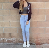 jeans,light blue jeans,skinny jeans,casual,spring outfits,grey crop top,pants,beautiful,cute,jacket,boyfriend jeans,black,streetwear,crop tops,tank top,shirt,blue denim,high waisted jeans