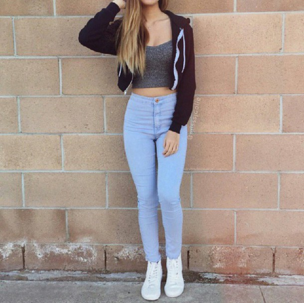 Top crop tops gray crop top cropped jacket jacket black crop top high waisted jeans white ...