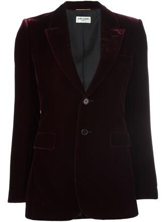 blazer women cotton silk velvet red jacket